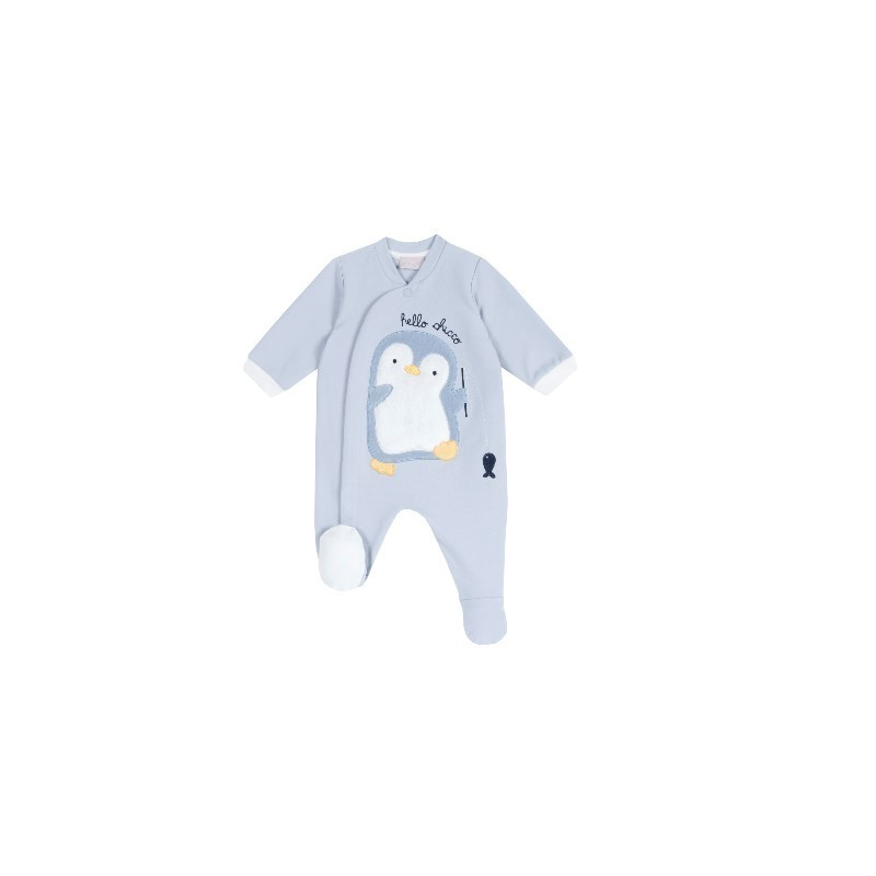 Babygrow Algodão Pinguim Azul  - Chicco
